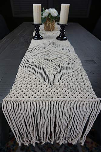 Aura Design's Macrame Table Runners 86 x 13.5 Inches Handwoven Boho Wedding Table Decoration Bedding Blanket