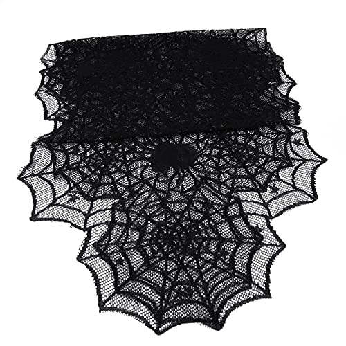 Mvude Mantel de Halloween, mantel de lino de araña, cubierta de tela para cocina, comedor, decoración de mesa de granja,Camino de mesa 46X183CM