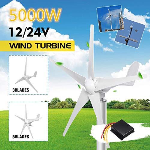 WYJW Turbinas de energía eólica de 500 W, generador de turbinas de energía eólica de 12 V 24 V Opción de Palas de Viento de 3/5 con Controlador de Carga Impermeable Apto para el hogar o