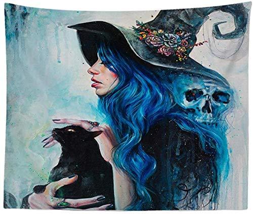 QIAO Tapices Tapices de Pared Bruja de Cabello Azul Abstracto Hippie Bohemio Indio Impreso Lona de Gran Tama?o Tela Colgante para Dormitorio de Estudiantes Decoraci¨n de la Pared de la habitaci¨n