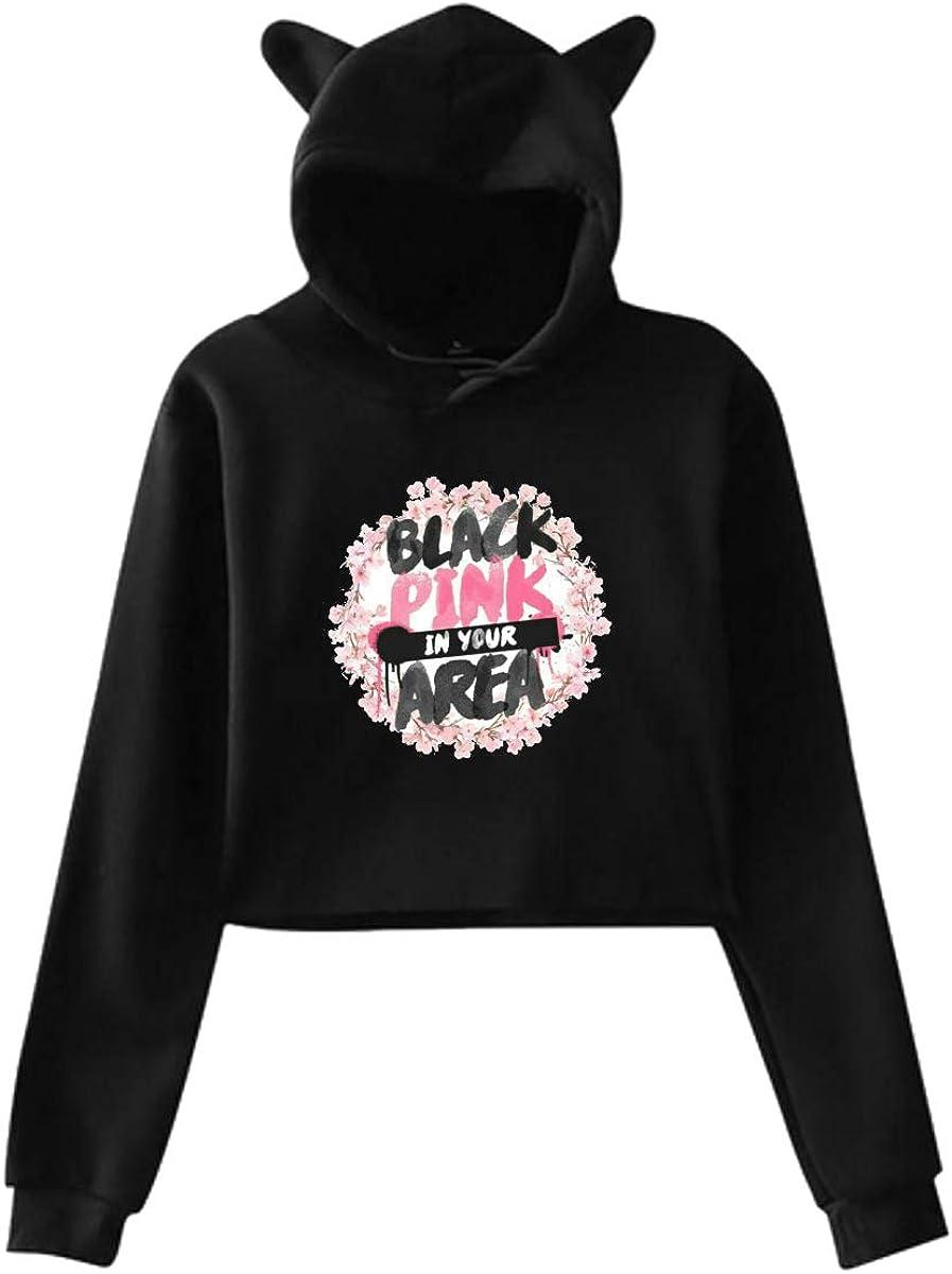 TPPT Blackpink Womens Crop Tops Long Sleeve Sweater Black Cat Ear Hoodie Sweater