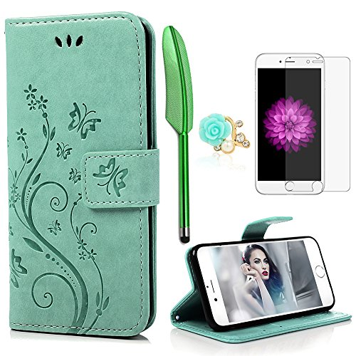 iPhone 6 / 6S Hülle (4,7 Zoll) Wallet Case Flip Hülle YOKIRIN Schmetterling Blumen Muster Schutzhülle PU Leder Brieftasche Ledertasche im Bookstyle für iPhone 6 6S Tasche Mintgrün