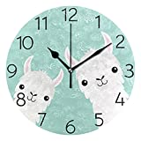 MOYYO - Reloj de Pared Redondo silencioso con diseño de Llama, Funciona con Pilas, Creativo, Decorativo, para niños, Sala de Estar, Dormitorio, Oficina, Cocina, decoración del hogar