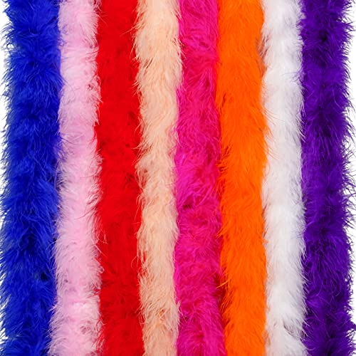obmwang 8 Pack 6.6ft Colorful Feather Boas for Craft Wedding Party Dress Up Halloween Costume Decoration