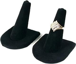 2 Black Velvet Ring Finger Jewelry Holder Showcase Display Stands
