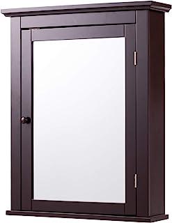 Tangkula Bathroom Cabinet, Mirrored Wall-Mounted Storage Medicine Cabinet, Cabinet with Single Door & Adjus...