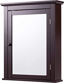 Tangkula Bathroom Cabinet, Mirrored Wall-Mounted Storage Medicine Cabinet, Cabinet with Single Door & Adjustable Shelf in 3 Positions, Multipurpose Cabinet for Bathroom, Vestibule, Bedroom (Brown)
