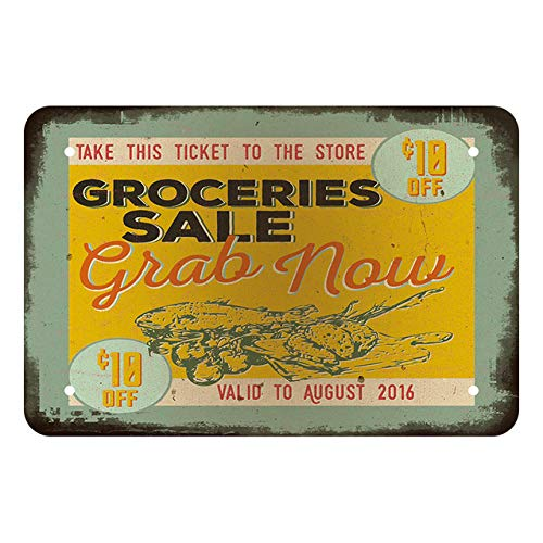 Groceries Sale Grab Now Fresh Seafood Vintage Metal Tin Sign 8x12 Inch Retro Wall Cafe Snack Bar House Decor Billboard Poster