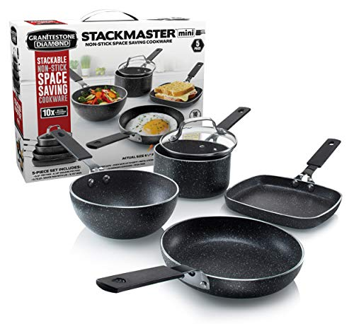 GRANITESTONE 2716 Stackmaster 5 Piece Mini Set, Nonstick Cookware Set, Scratch-Resistant, Granite-coated Anodized Aluminum, Dishwasher-Safe, PFOA-Free As Seen On TV