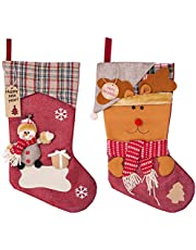 MELLIEX 2 Piezas Medias de Navidad, Grande Calcetines de Navidad con 20pcs Etiquetas para Dulces Decoraciones (45 x 22.5cm)