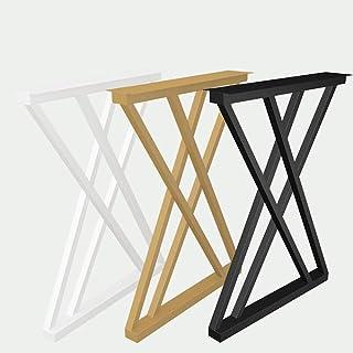 テーブル脚 金属 家具脚 X型 鉄製デスク脚 ダイニングテーブルサポート脚 DIY モダンスタイル バーデスク脚 幅650×高さ725mm ブラック/ゴールデン