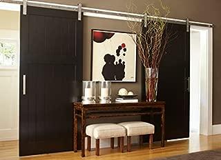 BD-FSS # Satin Nickel Brushed Stainless Steel Sus304 Modern Barn Wood Sliding Door Hardware Track Kit for Storage Room, Laundry Room, Master Bathroom, Walk-in Closet (Double Door 10FT /3000mm)