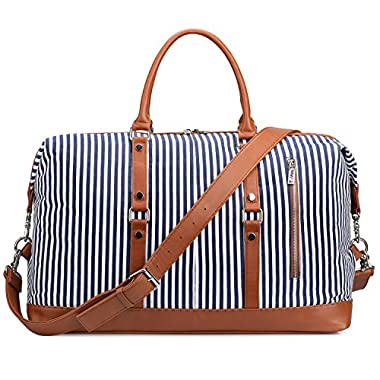 S-ZONE OversizedCanvas PU Leather Trim Travel Duffel Bag Weekender Bag for Women and Ladies