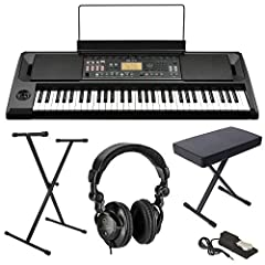 KIT INCLUDES: Korg EK-50 61-Key Keyboard | AC Adapter | Sheet Music Stand | Cushion Bench | Sturdy Lightweight Adjustable Stand | Full-sized Keyboard Sustain Pedal | H&A Studio Monitor Headphones KEY FEATURES: 61 Full-Sized Keys | Touch Control | 702...
