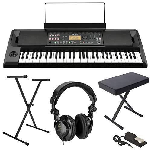 Korg EK-50 61-Key Arranger Entertainer Keyboard (Black), Starter Bundle with Bench,...