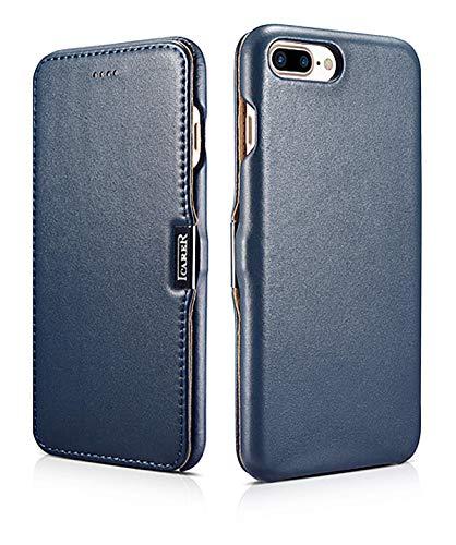 ICARER Hülle passend für Apple iPhone 8 Plus und iPhone 7 Plus (5.5 Zoll), Handyhülle mit echtem Leder, Case, Schutz-Hülle klappbar, dünne Handytasche, Slim Cover, Blau