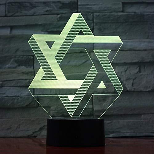 Creatieve 7 kleuren kleurverloop sfeer visuele 3D Israel geometrie hexagon LED nachtlampje usb tafellamp nachtkastje wooncultuur