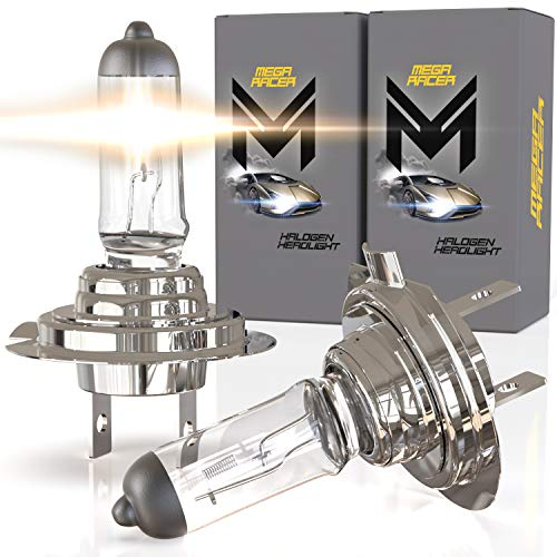 Mega Racer H7 Halogen Headlight Bulbs - 4300K OEM Standard White 12V 55W 150% Brighter Xenon, Standard Halogen Replacement IP68 Waterproof Rating Longer Life, Pack of 2