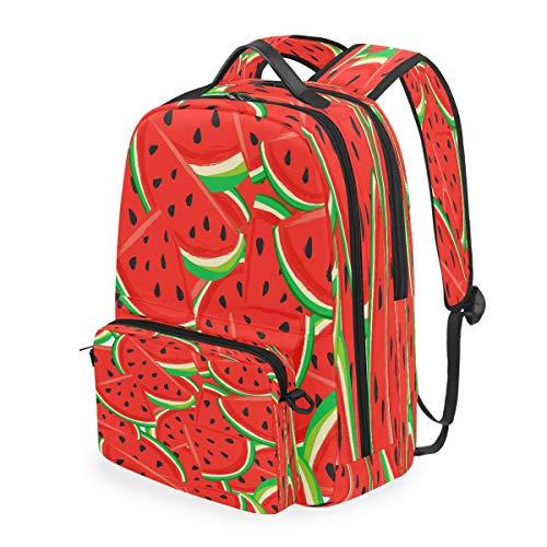 SunsetTrip - Zaino da scuola con motivo anguria e frutta, rimovibile, per studenti, viaggi, per ragazze, ragazzi, donne e uomini