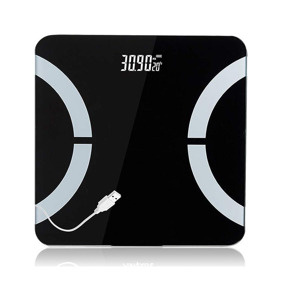 海峡ひも高揚した磁器浴室LEDスクリーンボディグリース電子体重計、体組成分析健康スマートホーム - 11.8×11.8×1インチ LJKHFD (Color : Black)