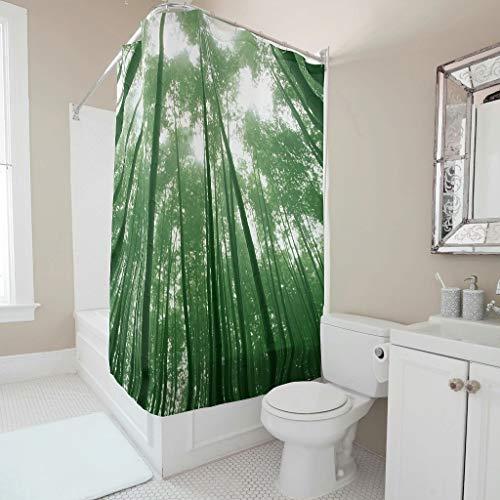 O2ECH-8 douchegordijn gepersonaliseerd bos patroon Graphic milieuvriendelijk - Forest badgordijn hotelkwaliteit voor de badkamer