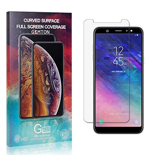 GIMTON Verre Trempé pour Galaxy A6 Plus, Anti Rayures Protection en Verre Trempé Écran pour Samsung Galaxy A6 Plus, Dureté 9H, sans Bulles, 3D Touch, 1 Pièces