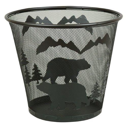 BLACK FOREST DECOR Metal Bear Waste Basket