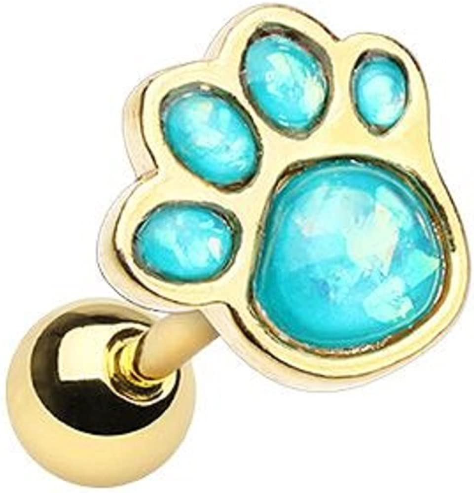 Golden Animal Lover Opal Paw Print WildKlass Cartilage Tragus Earring