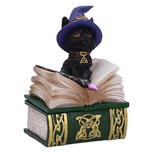 Nemesis Now Binx Kleine Hexen Vertraute Schwarze Katze und Zauberbuch Figur Box, grün, 11 cm