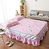 JRDTYS Protector de colchón de Rizo algodón y TranspirableFalda de Cama de algodón con Funda Protectora de encaje-09_El 120 * 200cm