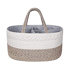 Zulux Baby Diaper Caddy Organizer – Cotton Rope Portable Basket Diaper Basket, Nursery Storage Bin with Removable Inserts, Changing Table Organizer Basket