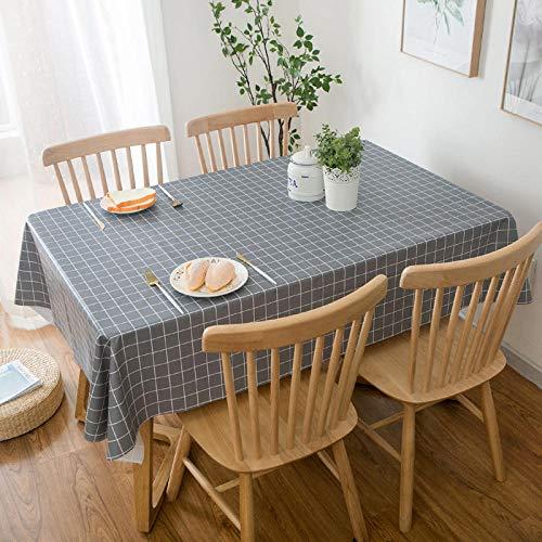 GTWOZNB fácil de Limpiar, para jardín, Habitaciones, decoración de Mesa, PVC de Color Puro a Prueba de Agua y Aceite-Rejilla Gris y Azul_El 120 * 180cm