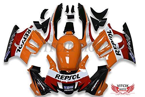 VITCIK (Fairing Kits Fit for Honda CBR600F3 CBR600F 1997 1998 CBR 600 F3 97 98 Plastic ABS Injection Mold Complete Motorcycle Body Aftermarket Bodywork Frame (Orange & Black) A042