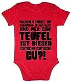 Hariz - Body de manga corta para bebé, diseño con texto en alemán 'Wer Zum Teufel Ist Dieses Gutschi Gutschi Gu Baby' rojo Bomberos de color rojo. Talla:3-6 meses