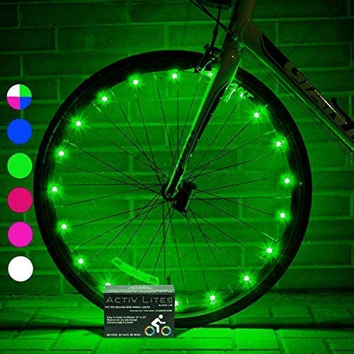 Image of the Activ Life LED Wheel Lights (1 Tire, Green) Fun Bicycle Spoke Wire & Bike Frame Safety String Lights, Best Wheelchair Accessories & Top Baby Stroller Accessory, Gifts for Dad, Mom, Children, Popular T