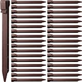 Mudder Plastic Ground Stakes Plastic Landscape Edging Stakes Brown Anchoring Spikes for Edging and Terrace Board and Garden, 10 Inch (25, Brown)