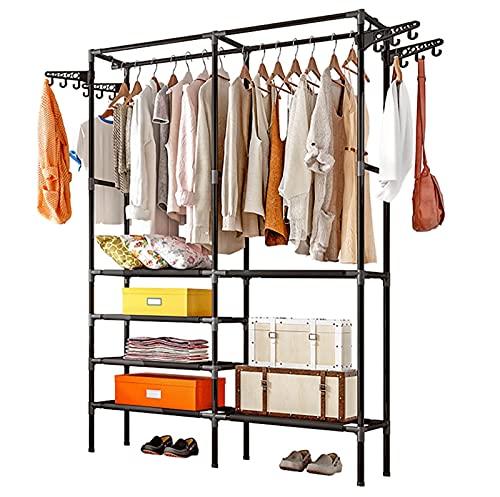 Kleiderständer, Kleiderstange, Kleiderstange, Kleiderständer, Trockner, Schlafzimmer, Doppelschienen, freistehend, Kleider-Organizer mit 6 Ebenen (schwarz)