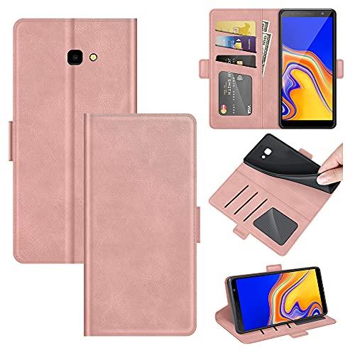 AKC Cover Samsung Galaxy J4 Plus/J415F Custodia in Pelle Portafoglio con Supporto Cover a Libro Magnetica Caso Flip Pieghevole Caso Libro in Pelle PU-Oro Rosa