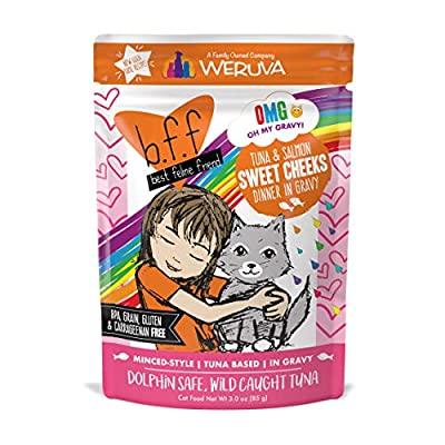 B.F.F. Omg - Best Feline Friend Oh My Gravy!, Tuna & Salmon Sweet Cheeks With Tuna & Salmon In Gravy Cat Food By Weruva, 3Oz Pouch (Pack Of 12)