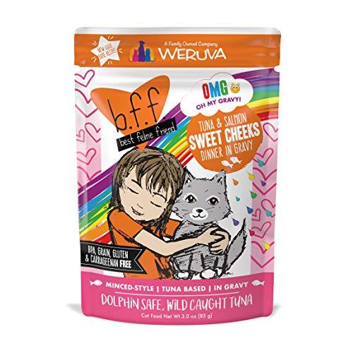 B.F.F. Omg - Best Feline Friend Oh My Gravy!, Tuna & Salmon Sweet Cheeks With Tuna & Salmon In Gravy Cat Food By Weruva, 3Oz Pouch (Pack Of 12)