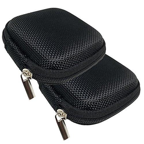 JBSTK 2 Stücke Universal Tasche für In-Ear Kopfhörer mit Netzfach - Hardcase Aufbewahrungsbox, Schutztasche mit umlaufenden Reißverschluss, extra klein, Schwarz