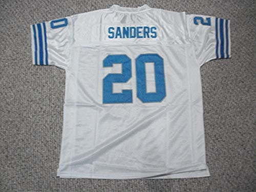 Unsigned Barry Sanders #20 Detroit Custom Stitched White Football Jersey Various Sizes New No Brands/Logos (S)