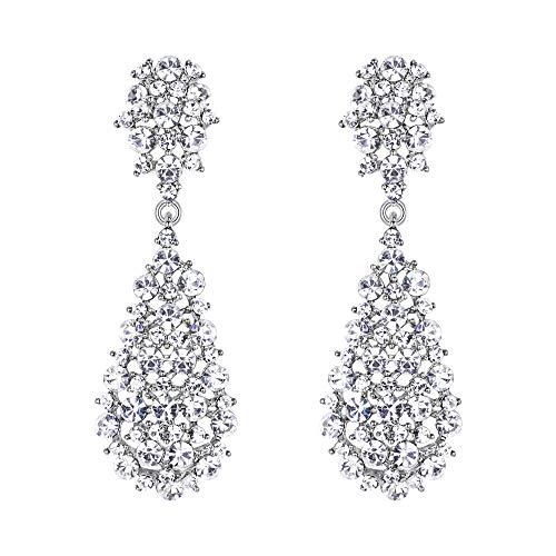 EVER FAITH Damen Ohrringe Voll Kristall Art Deco Vintage Stil Ohrhänger für Hochzeit Party Klar Silber-Ton