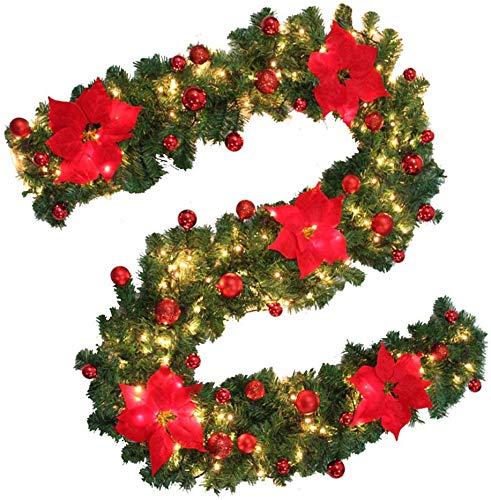 EliteKoopers 9ft LED Light Christmas Garland Wreath For Xmas Pre-Lit Fireplace Tree Pine Baubles