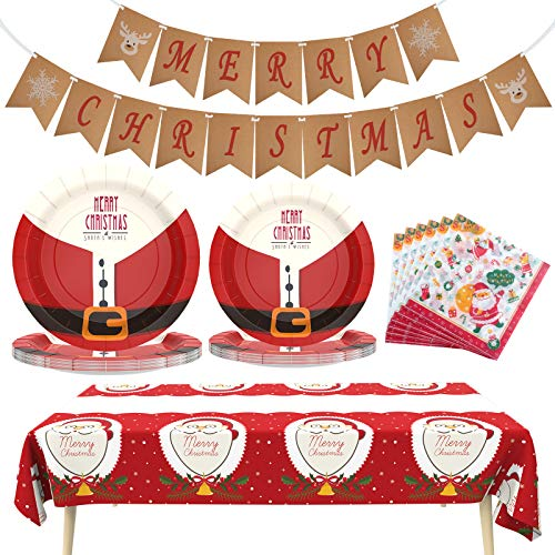 Christmas Decorations Christmas Paper Plates and Napkins Christmas Party Supplies Includes Christmas Tablecloth,Merry Christmas Banner,Disposable Dinnerware Set for Christmas Decor, Serves 24