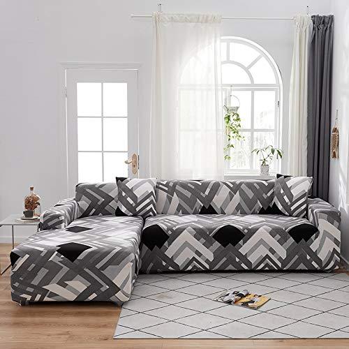 Fundas de sofá de Esquina para Sala de Estar Funda elástica elástica Sofá seccional Chaise Longue Funda de sofá en Forma de L A13 3 plazas