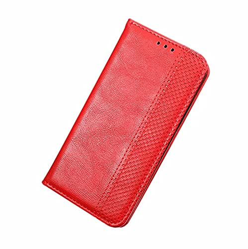 LINER Cover per Realme 8 PRO Realme 8 4G, Classico Retro Design Flip Custodia in PU Pelle Premium Portafoglio Slot per Schede Supporto Video Chiusura Magnetica Antiurto Case - Rosso