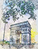 Notebook: Triumphal Arch of Paris: Beautiful/Artistic design, Lined Journal/Notebook/Sketchbook/diary, 120 pages, 8.5x11 large print,Composition