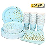 Blue and Gold Party Supplies - 200PCS Disposable Blue Paper Plates Dinnerware Set Gold Dots 50 Dinner Plates 50 Dessert Plates 50 9oz Cups 50 Napkins Wedding Birthday Party Baby Shower Christmas