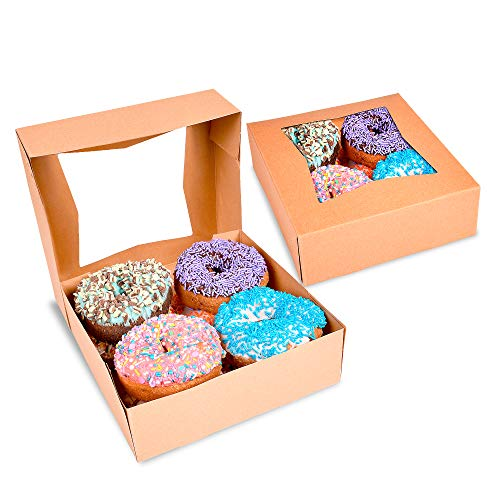 Surf City Supplies Brown Bakery Boxes with Window 8X8X2.5 |Pack of 25| Auto Pop-up | Easy to Assemble | Great for Pies, Cakes, Cupcakes, Donuts, Cookies, Pastries, Cheesecake, Candy, Brownies